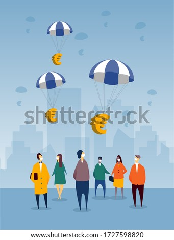 Euros floating into EU countries as financial relief plan for impending recession from the COVID-19 crisis. Citizens are looking up and wearing protective masks, with backdrop of city.
