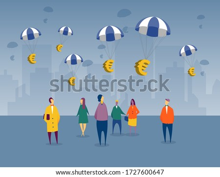 Euros floating into EU countries as financial relief plan for impending recession from the COVID-19 crisis. Citizens are looking up with city backdrop, waiting for government sponsored assistance.
