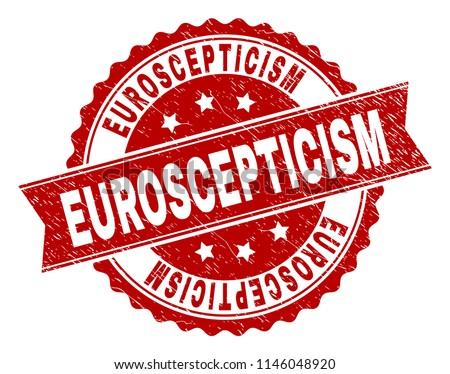 EUROSCEPTICISM seal print with corroded style. Rubber seal imitation has round medallion form and contains ribbon. Red vector rubber print of EUROSCEPTICISM text with corroded texture.