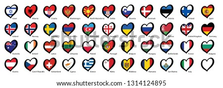 Eurovision europe contest song 2020 Funny euro country map heart flag logo symbol Fun music festival icon Songfestival hearts countries icons Rotterdam theme Open Up Netherlands Holland or Dutch flags