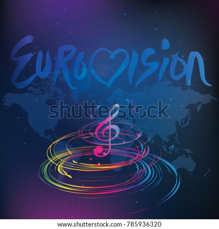 Eurovision song contest, 2018, music, world competition, vector