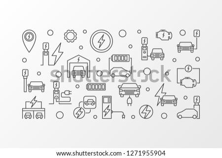 EV charging station vector outline illustration. Electric vehicle charging concept horizontal banner