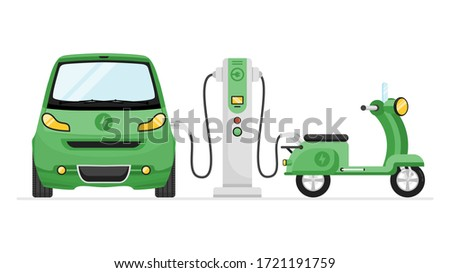 EV Electric Vehicle Charging Station with Scooter and Compact Car Charging Batteries. Eco Friendly, Rechargeable Vehicle Concept. Stock Flat Vector Illustration. Foto stock ©