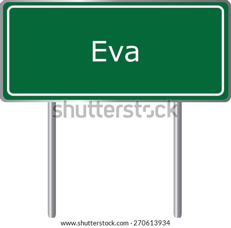 eva  alabama  road sign green