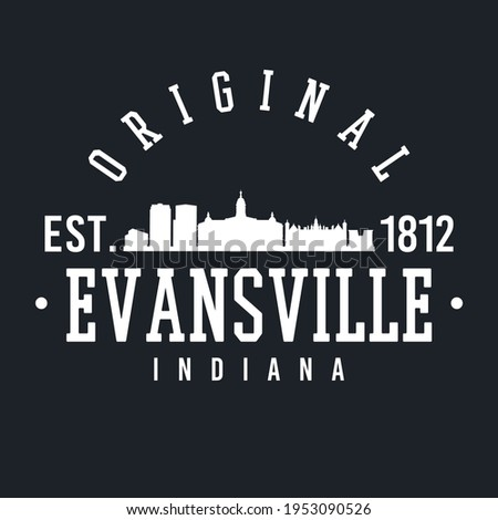 Evansville, IN, USA Skyline Original. A Logotype Sports College and University Style. Illustration Design Vector.
