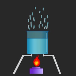 Evaporation of water. Liquid boiling with flame in the stove, evaporating in the glass container. Cooker fire. Fluid bubbles. Water boils 100 degrees Celsius, 212 degrees Fahrenheit. 2D draw Vector