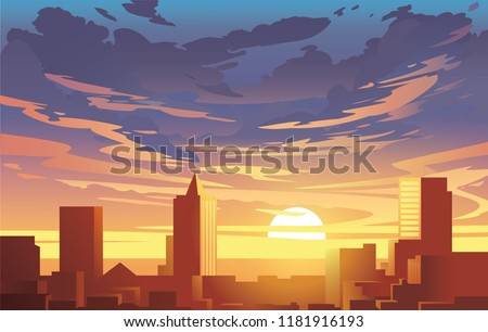 evening city panorama  vector