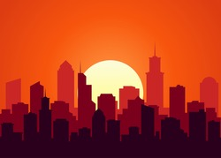 Evening cityscape vector illustration. Sunset landscape concept. City at sunset in a flat style.