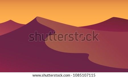 evening desert flat illustration