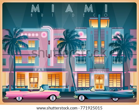 evening on ocean drive in miami