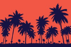 Evening on the beach with palm trees. An evening on the beach with palm trees. Colorful painting for rest. Dark palm trees at sunset. Orange sunset in the blue sky. The island with palm trees. Summer