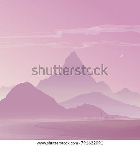 evening  pink landscape with