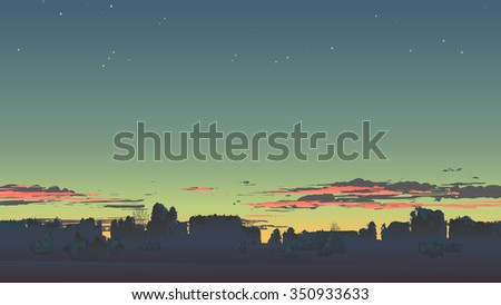 evening scenery with sunset