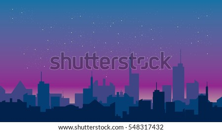 evening sky over city vector