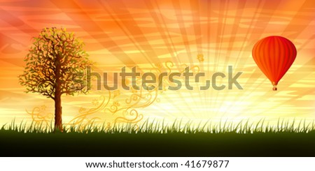 Evening summer landscape with a lonely tree and a red hot air balloon - stock vector