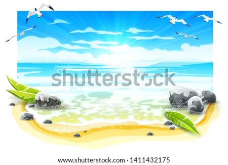 evening sunset at sandy beach