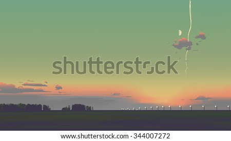 evening sunset scenery with