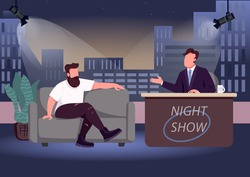 Evening talk show flat color vector illustration. Chat show host and famous guest 2D cartoon characters with studio on background. Entertaining communication with famous personalities