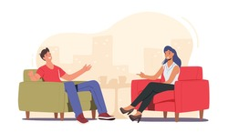 Evening Talk Show Interview Broadcasting, Host and Famous Guest Characters Chatting in Studio, Entertaining Tv Program Communication with Famous Celebrity Person. Cartoon People Vector Illustration