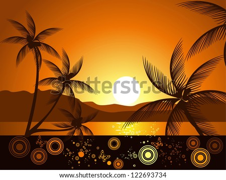 evening tropical landscape