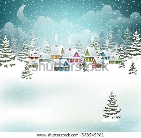 evening village winter
