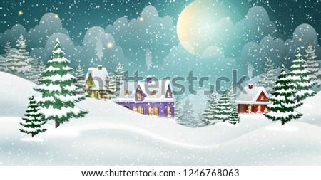 evening winter village