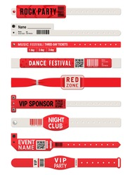 Event access bracelet or wristband realistic vector mockups. Isolated paper or plastic wrist bands, 3d white and red VIP tickets of night club party, music festival concert, cinema and carnival show