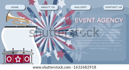 Event agency company site template. Event management header poster design. Vector illustration of events planning services
