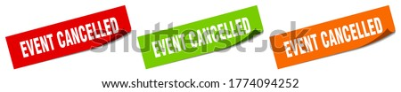 event cancelled sticker. event cancelled square isolated sign Foto stock ©