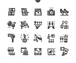Event entertainment. Online concer. Party invitations and celebration. Glasses of champagne and food. Vector Solid Icons. Simple Pictogram