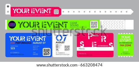 Event entrance ticket, and bracelets for live performance, access control design for dance, music festivals, private areas. Foto stock ©