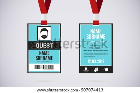 Royalty Free Photos and Images Event Guest id card set with – Event Card Template