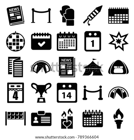 Event icons. set of 25 editable filled event icons such as red carpet barrier, calendar, disco ball, tent, candle heart, news, 14 date calendar, fireworks, red carpet, torch