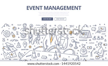 Event management & marketing concept. Man & woman discussing a plan of business conference or event. Doodle illustration for web banners, hero images, printed materials