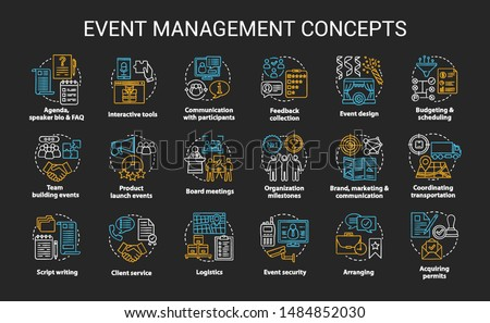 Event management & planning chalk concept icons set. Corporate special event industry idea. Meeting, conference planner, organizer. Vector isolated chalkboard illustration