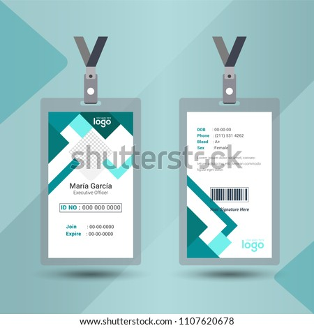 Event staff abstract id card set with lanyard. vector design and text template illustration. Identification for employer & student.