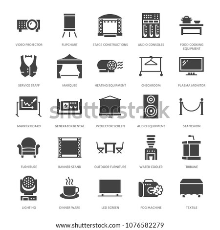 Event supplies flat glyph icons. Party equipment - stage constructions, visual projector, stanchion, flipchart, marquee. Signs for catering, commercial rental service. Solid silhouette pixel perfect