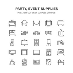 Event supplies flat line icons. Party equipment - stage constructions, visual projector, stanchion, flipchart, marquee. Thin linear signs for catering, commercial rental service. Pixel perfect 64x64.