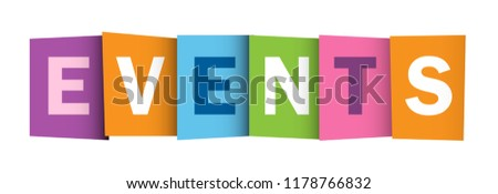 EVENTS colorful letters banner