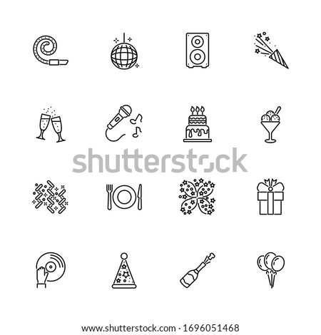 Events, Party, Festival outline icons set - Black symbol on white background. Events, Party, Festival Simple Illustration Symbol - lined simplicity Sign. Flat Vector thin line Icon - editable stroke