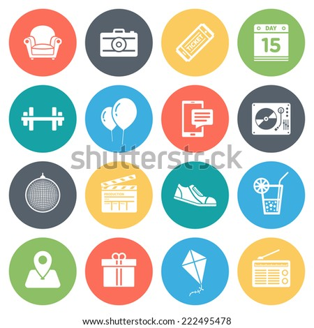 Events, recreation round vector icons collection in pastel colors. Isolated on white background.