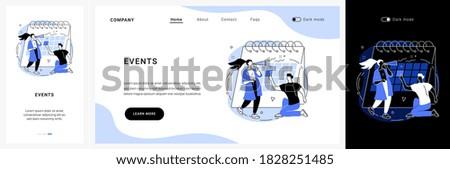 Events website UI kit. Corporate events, event calendar, notification, website menu bar, UI element, business meeting, commercial exhibition, schedule landing and mobile app vector UI template.