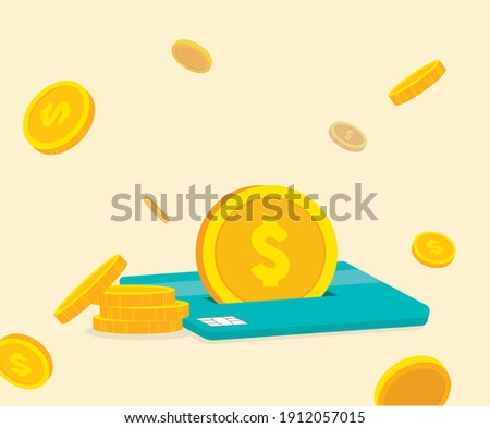 Events where a certain amount of money is accumulated for each card use illustration set. pay, gold, fly, bank. Vector drawing. Hand drawn style. Foto stock ©