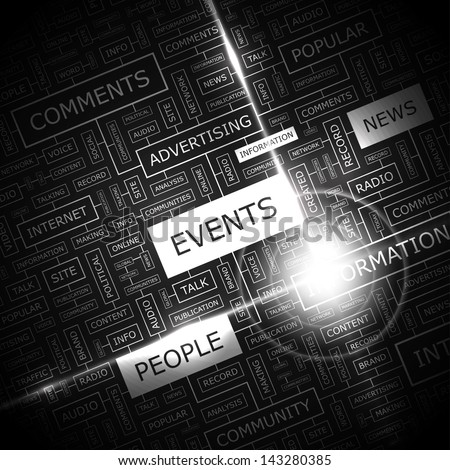 EVENTS. Word cloud concept illustration.