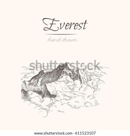 everest. himalayas. sketch of a ...