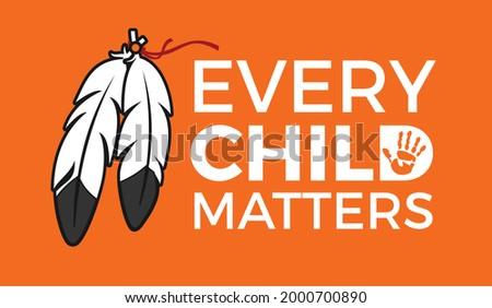 Every Child Matters Logo Design. Vector Illustration. Canadian Indigenous Tragedy Illustration. Stock fotó ©