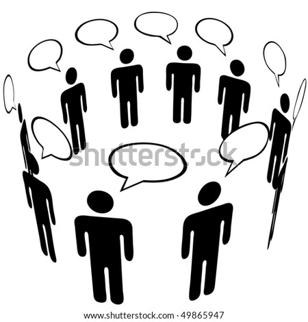 Everybody talks to everyone in a Social Media Network Ring Group speech bubble Talk.