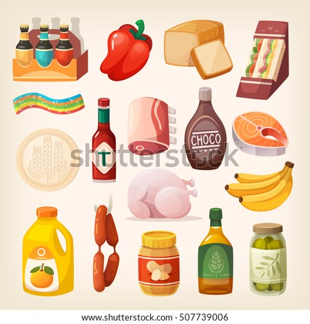 Everyday goods and food products and to buy at butcher, grocery store, liquor store and at supermarket. Isolated eating icons for healthy lifestyle. Canned and packed food and desserts