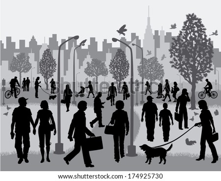 Everyday People in a City Park Silhouettes of people walking in a city park with the city in the background