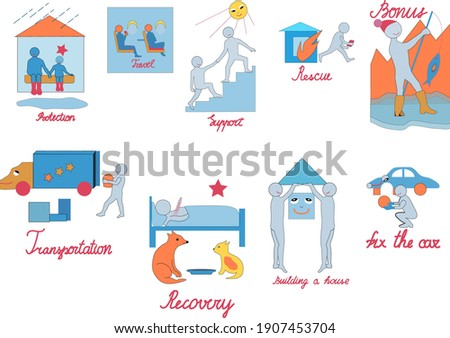 Everyday situations.  Pictures on the topic of insurance and daily activities. Isolated objects on a white background, blue and shades of orange.